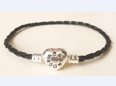 Fashion Heart Clasp Leather Bracelet Chain Bangle For European Charms/Beads
