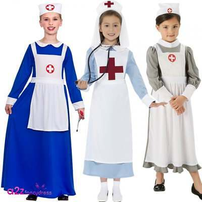 3922e52a7403e World War1 WW1 Nurse Costume Kids Girls Fancy Dress Hospital Uniform Wartime