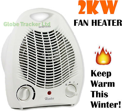 🔥2kw 2000w Portable Electric Upright Adjustable Fan Heater Hot Cold Small Fast
