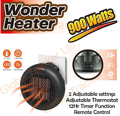 900W Mini Space Heater Fan Portable Plug-in Electric Wall-outlet Warmer Remote