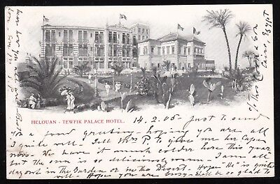 Egypt - Uk 1905 Used Postcard From Tewfik Palace Hotel In Hilwan To Padington