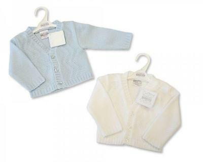 Unisex boy girl white blue cardigan 0-3-6 months new gift knitted gift baby