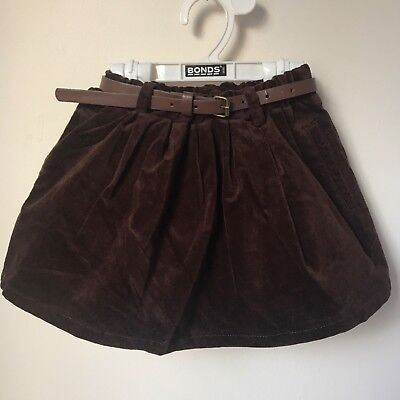 Girls Brown Velvet Belted Skirt Size 4 ***NEW WITH TAG***