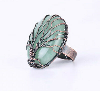 R193F Ring with Aventurine Green Tree of Life Oval Antique Copper Adjustable