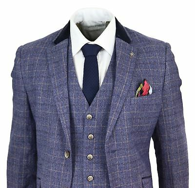 Mens 3 Piece Grooms Suit Tweed Blue Check Tailored Fit Wedding Vintage Classic