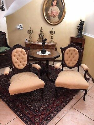 Victorian Carved Rosewood Armchairs low sitting newly reupholstered