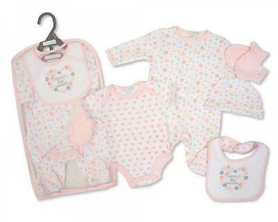Baby girls mummy little sweetheart gift set sleepsuit body vest hat mittens bib