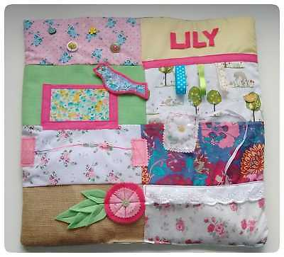 Personalised Dementia blanket Lap Mat Sensory Fiddle Aid Floral Alzheimer's Gift