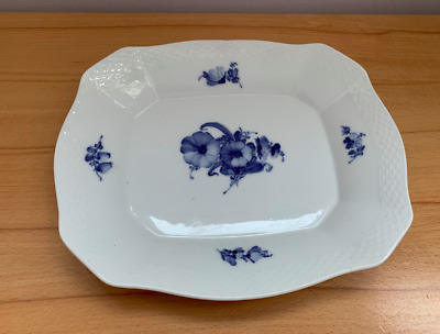 Royal Copenhagen 10-8175, blue flower, braided bread tray,blue fluted porcelain