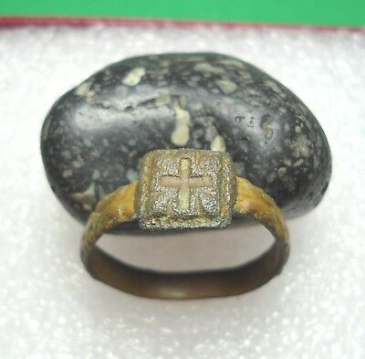 Ancient Roman Bronze Ring with a cross Original Authentic Antique Rare R524