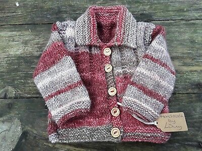 New Hand Knitted 0-3 Months Baby Girl Cardigan/Jacket Red Mix Wooden Buttons