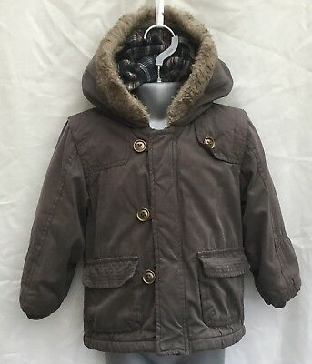 Baby Boys Khaki Brown Fleece Lined Hooded Coat Jacket - Age 18-24 Months