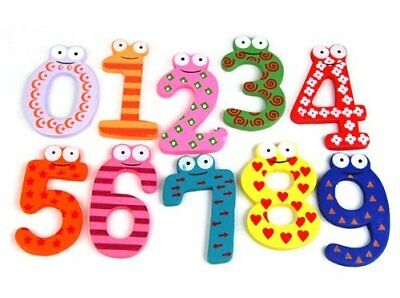 Fun Colorful Magnetic Numbers Wooden Fridge Magnets Kids Educational Toys