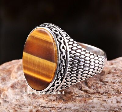 Tigers Eye Stone Turkish Handmade Solid 925 Sterling Silver Men Ring ALL SİZE 64