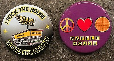 NEW - 2 WAFFLE HOUSE Pins Peace Love & Around The Clock - I Rock The House Pins