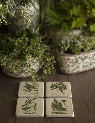 Set 4 French Shabby Chic Ceramic Tile Coasters in a Green Fern Design