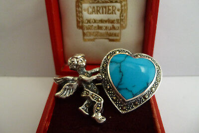 Sterling Silver Art Deco Style Marcasite Turquoise Cherub Hart Brooch