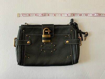 Chloe Black Gold Small Paddington Clutch With Lock Key