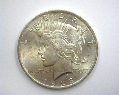 1923 Peace Silver Dollar  Gem Uncirculated+ Iridescent Toning!
