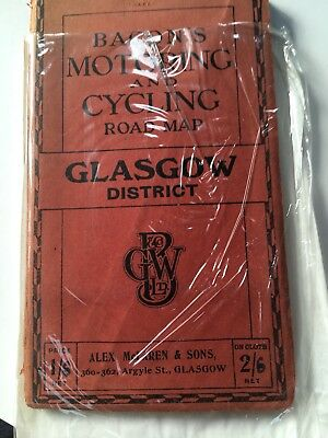 Bacons Motoring And Cycling Map Glasgow