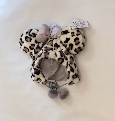 BNWT Disney Parks Minnie Mouse Ears Cheetah Print Faux Fur Hat Adult One Size