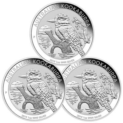 Lot of 3 2019 P Australia 1 oz Silver Kookaburra $1 Coins GEM BU SKU56938