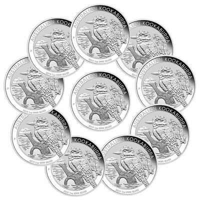 Lot of 10 2019 P Australia 1 oz Silver Kookaburra $1 Coins GEM BU SKU56940