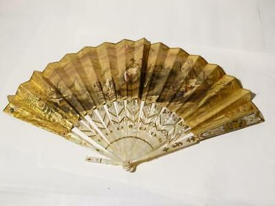 Antique Hand Painted Chinese Asian Hand Fan Mother of Pearl Illuminated A/F #F3