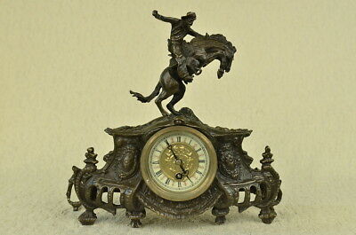 Frederic  Remington The Bronco Buster Bronze Marble Sculpture Statue Clock Deal