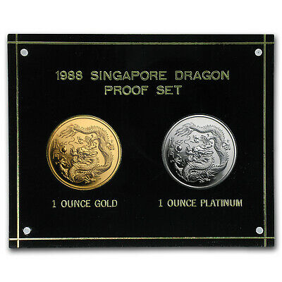 1988 Singapore 2-Coin Platinum & Gold Dragon Proof Set - SKU#59462