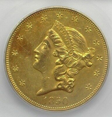 1850 Liberty Head $20 Gold Icg Au53 1St Yr Of Issue! Valued At $5,500