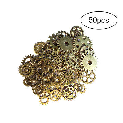 50Pcs Antique Metal Steampunk Gears DIY Pendant Watch Wheel for Crafting Jewelry
