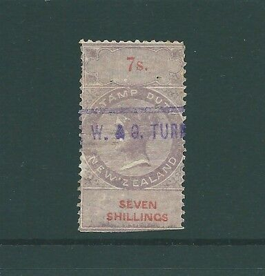 NEW ZEALAND Queen Victoria 7/- Lilac Stamp Duty (b)