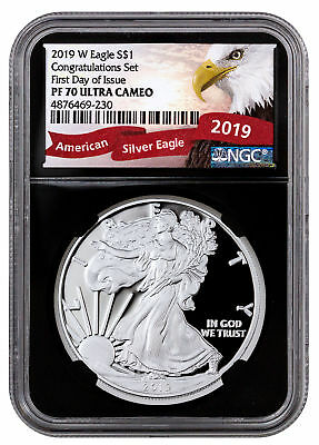 2019 W Proof Silver Eagle Congratulations Set NGC PF70 UC FDI Blk Excl SKU56923