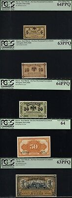 Tt Pk S1241-S1245(1918) Russia Complete Set 5 Notes Pcgs Gems Very Rare See Info