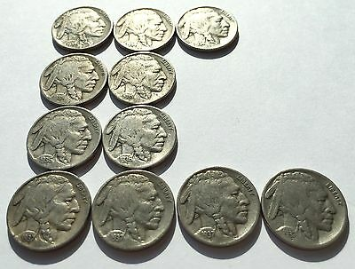 Collectible BUFFALO NICKELS | Lot Of 11 | From Years 1934 1935 1936 1937