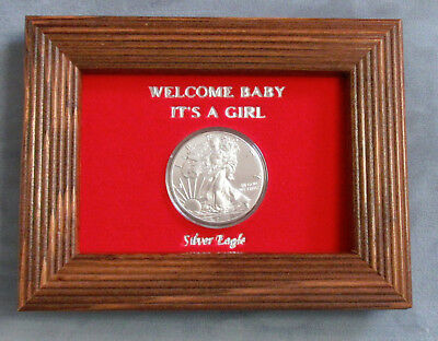 """UNC 2019 Silver Eagle in """"Welcome Baby It's A Girl"""" Oak Wood Frame 1oz Silver"""