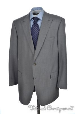 BROOKS BROTHERS Regent Gray Striped PEAK LAPEL Wool Jacket Pants SUIT - 46 L