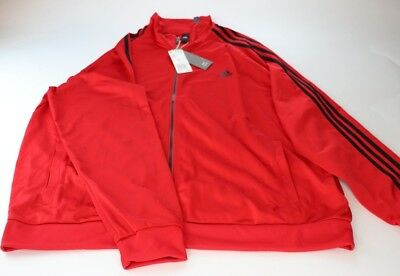 Adidas Official Essentials Tricot 3 Stripe Red Track Jacket 2XL NWT