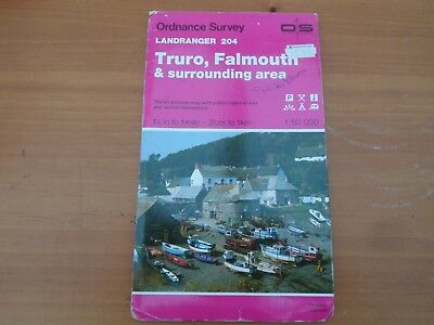 os map sheet 204 Truro Falmouth scale 1:50,000  vintage 1989