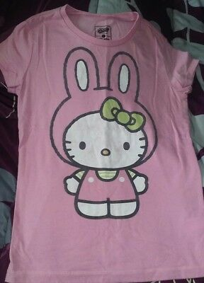 Girls Size L Large 10-12 Pink Hello Kitty Easter Short Sleeve Top Combine Ship