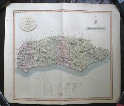 Large Antique Map of Sussex, John Cary 1801