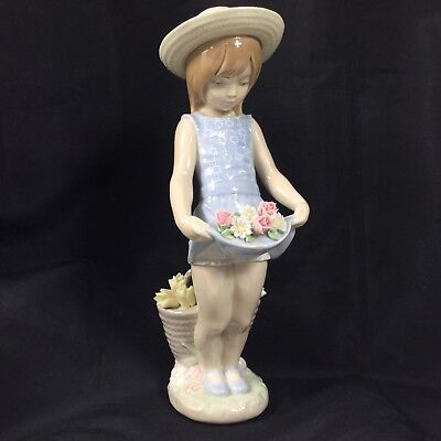 """Vintage Lladro """"My Flowers"""" #1284 Limited Edition Damaged 1974-2005 Retired"""
