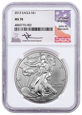 2013 1 oz American Silver Eagle $1 NGC MS70 Mercanti Signed Flag Label SKU55496