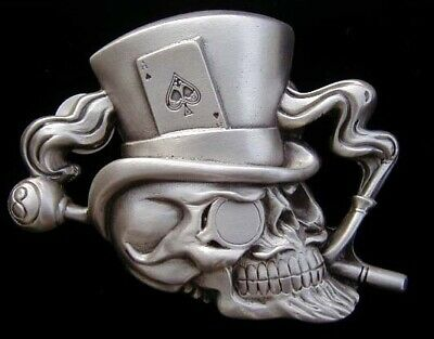 Mr DEATH SKULL WITH TOPHAT BELT BUCKLE! BUCKLES