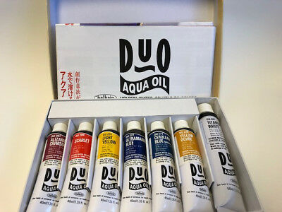 HOLBEIN Duo Aqua Water-Soluble Oil Paint set 7 colors, 40ml tubes NEW!