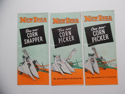 c.1950 NEW IDEA Farm Equipment Brochure Lot One Two Row Corn Picker Snapper VG