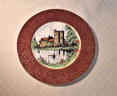 John Maddock Large Hand Painted Display Plate Stokesay Castle