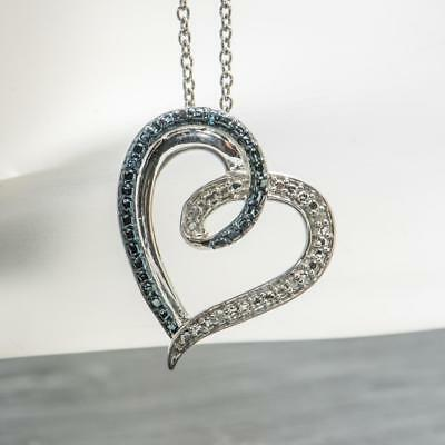 """.03ctw Blue and H-SI Diamond Sterling Silver Heart Pendant Necklace 18"""""""