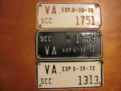 Vintage  Virginia License Plate Lot (3) Scc Toppers, 1970, 1971, 1972